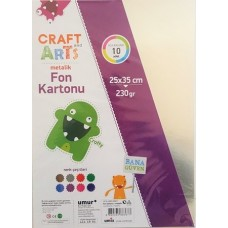 Umix Craft And Arts Metalik Fon Kartonu 8 Renk 25x35 cm 10 Adet